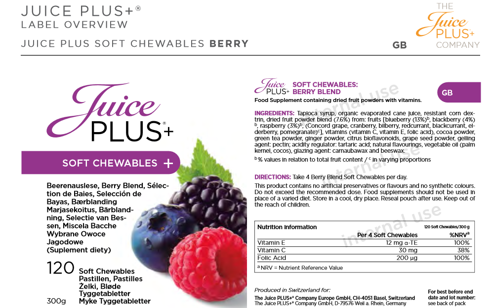 how to take juice plus chewables